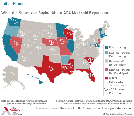 Uninsurance rates for the poor, by Medicaid expansion opt ...