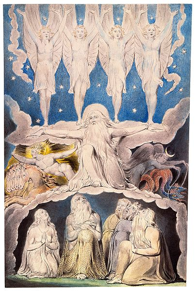 "William Blake's Illustrations for the Book of Job. This is Job 38:7, ""When the morning stars sang together."""