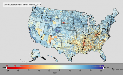 Oglala Lakota County SD The Incidental Economist - Life expectancy by us county 2014 map
